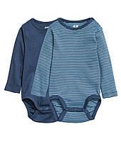 Детские бодики для мальчика (набор 2 шт)  1-2  месяца, фото 1