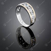 Серебряное кольцо с цирконами. Артикул П-424