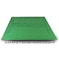 """Коврик резиновый с синтетическим покрытием """"WELCOME"""" 730 х 1165 мм зеленый"""