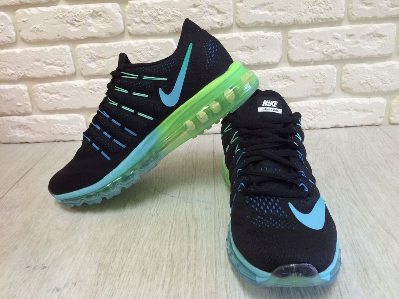 9926e51d6 Мужские кроссовки Nike Air Max 2016 Black/Blue/Green топ реплика - Интернет-
