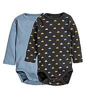 Детские бодики для мальчика (набор 2 шт) 1-2, 2-4, 4-6, 6-9, 9-12, 12-18 месяцев, 1,5-2 года