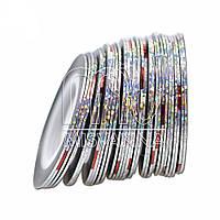 Лента-скотч для декора, 1 мм, серебро голограмма