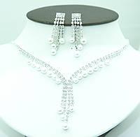 158. Комплект бижутерии. Свадебное колье и серьги с жемчугом. Свадебная женская бижутерия.