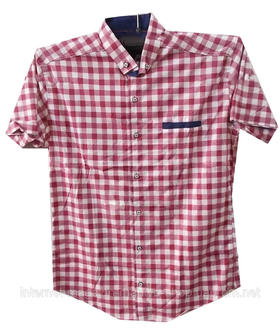 Рубашка мужская клетка карман (лето)