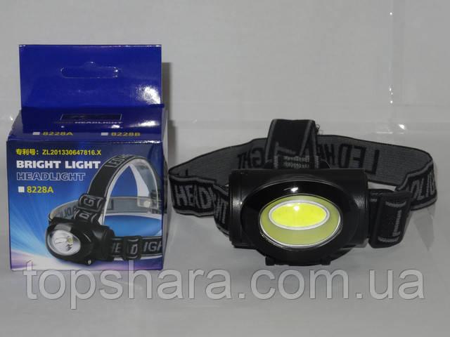 Фонарик налобный COB Headlight 8228A черный