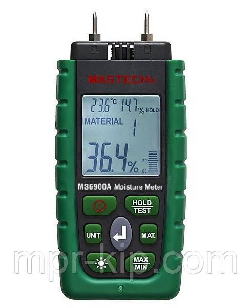 Влагомер древесины и строительных материалов Mastech MS6900A (0-60%) (-10.0 - 50.0 °C) (10...90%) с 7 режимами