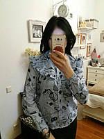 Блуза голубого цвета с длинными рукавами (хлопок), S,M,L р-ры, 270/240 (цена за 1 шт. + 30 гр.)