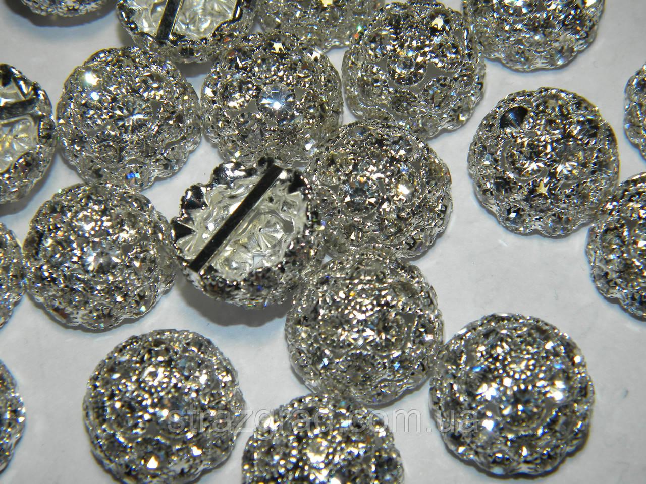 Півсфера декоративна з ювелірними стразами Crystal Срібло Металева 19мм