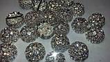 Півсфера декоративна з ювелірними стразами Crystal Срібло Металева 19мм, фото 2