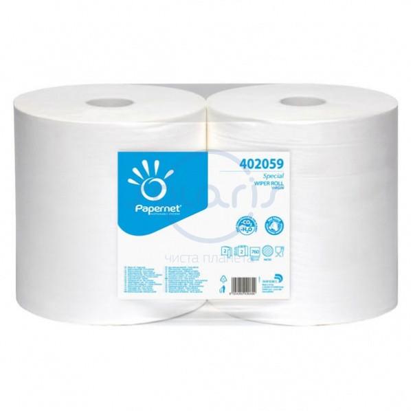 Салфетки протирочные в рулоне OVER SOFT, белые, 2-слойные, 30,5х25,5 см., 760 лист., 232 м (2 рулона)