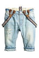 Детские джинсы с подтяжками 12-18 месяцев