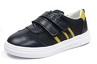 Туфли с кожаной ортопедической стелькой для мальчиков черные р.29,30 на липучках