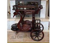 Барный стол на колесах из красного дерева