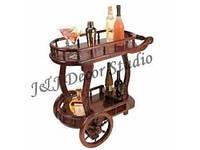 Барный столик на колесах из красного дерева