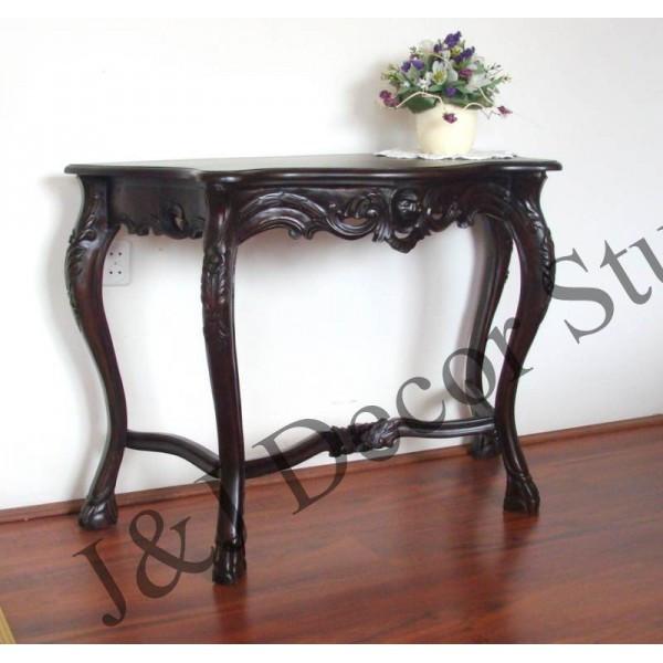 Стильный пристенный столик (консоль) с элементами ручной резьбы