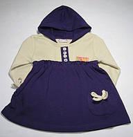 Туника-платье для новорожденной девочки с капюшоном