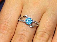 Кольцо серебро 925 проба 17 размер АРТ549 Голубой, фото 1