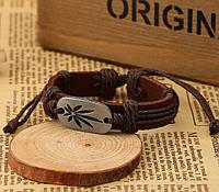 Кожаный браслет «Лист каннабиса» коричневый
