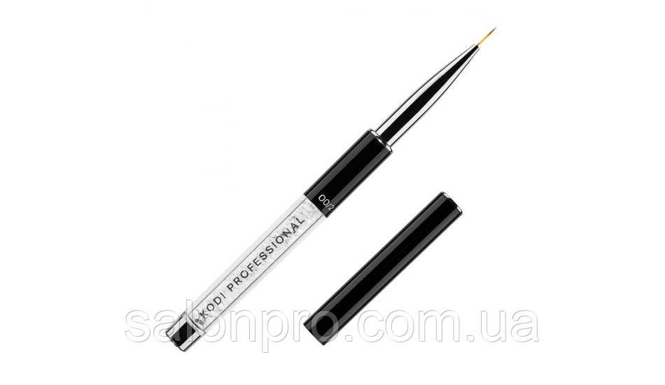Кисть KODI для росписи ногтей 1,размер 00/2 (ручка с белыми камнями) - SalonPro - всё для Вашей красоты! в Николаеве