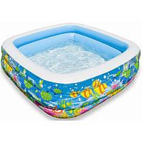 Бассейн  детский виниловый надувной  159х159х50 см Аквариум