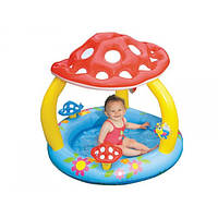 Надувной бассейн детский Грибок с навесом  Intex 102х89 см