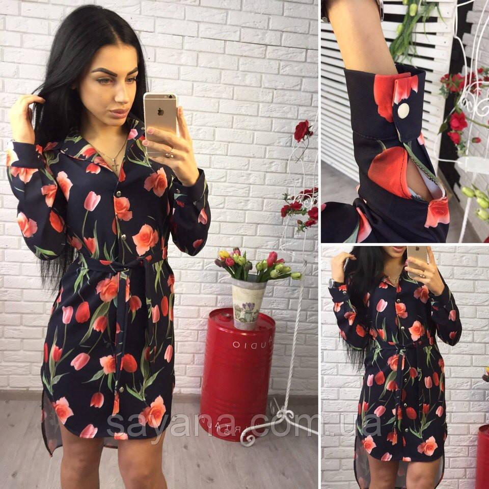 Женское платье удлиненное по спинке в расцветках. Ок-1-0317