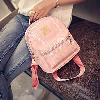 Рюкзак пятнистый под кожу крокодила мини (розовый)