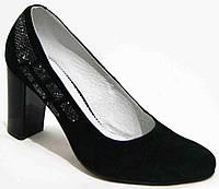 Замшевые туфли женские большого размера на каблуке, женские туфли 40-44 от производителя модель МИ3384-3
