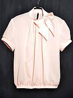 Блузка  креп-шифон персик,белая,молоко