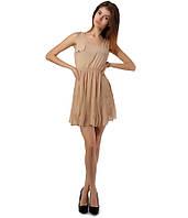 Платье плиссе бежевое