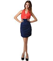 Платье гафрировка сине-красное