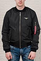 Бомбер, ветровка, куртка мужская весенняя, летняя, осенняя! Черный