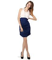 Платье гафрировка сине-белое
