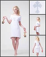 Летнее женское платье - маллет, с открытыми плечами со стразами