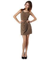 Платье бок бусы коричневое