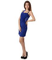 Платье бок бусы синие