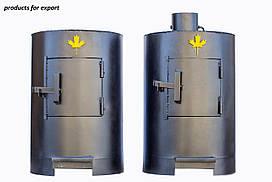 Канада (Canada) печь калориферная буржуйка отопительно варочная круглая дымоход вертикальный