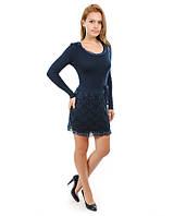 Платье гипюр вязанное синее