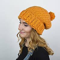 Вязаная шапка из перуанской пряжи. Цвет: Оранжевый