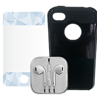 3 в 1 - Чехол Наушники Плёнка iPhone 4G/S, фото 1