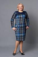 Женское платье со вставкой с кожзаменителя в верхней части