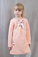 Красивое нарядное трикотажное платье-туника с бантом.