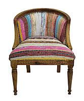 Кресло sofa CE-1006. Дерево Манго и Шишам, ткань коттон тканный вручную. Кресло в стиле Рококо. Ручная работа.