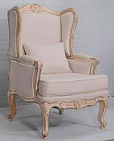 Кресло sofa CE-090. Дерево Манго, ткань канвас. Кресло в Классическом стиле. Ручная работа. Ganesha Design.