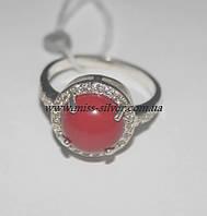 Кольцо серебро с круглым камнем и фианитами Кира