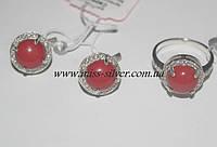 Комплект серебро с круглым камнем и фианитами Кира