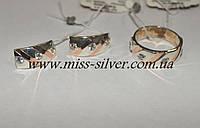 Комплект серебряный с белыми фианитами и золотом Ариадна