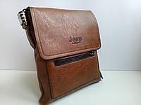 Мужская сумка планшетка Jeep кожа PU коричневая