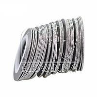 Сахарная лента-скотч для декора, 1 мм, серебро