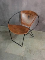 Стул кожаный Bucket Brown 2109. Металл и кожа. Стул в стиле Лофт. Ручная работа. Сделано в Индии.